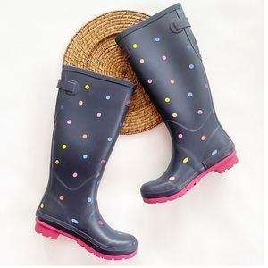 Joules Printed Rain Boots With Adjustable Gusset 8